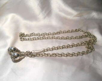 Silver Tone Chain Fashion Vintage Belt With Filigree Dangle Charms