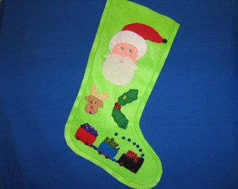 Beautiful lime green Christmas stocking