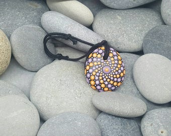 Mandala Necklace Pendant - Painted Rock - Hand-Painted Mandala Rock - Mandala Pendant - - Painted Stone - Chakra - Meditation