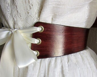 FairyTale Wedding......Wide Ribbon Laced Leather Bridal Sweetheart Corset Belt