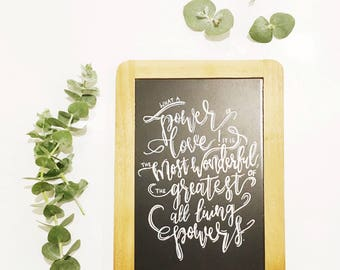 Chalkboard sign - Love - Inspirational Quote - Bahai Quote - Hand Lettering