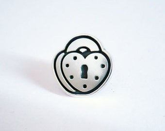 Sterling silver lapel pin / Handmade heart padlock tie tack / Urban jewelry.