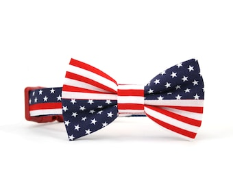 American Flag Dog Bow Tie Collar Patriotic 4th of July Red White Blue Stars and Stripes Dog Bowtie Collar
