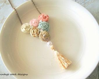 Rosette Tassel Necklace, Rosette Statement Necklace, Fabric Tassel Necklace,Mint Coral & Gold Tassel Necklace,Fabric Jewelry,Textile Jewelry