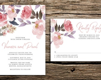 Blush Flowers Wedding Invitation // Blush Pink Invitations Watercolor Peony Floral Modern Wedding Hand Painted Invites Flowers Dusty Purple
