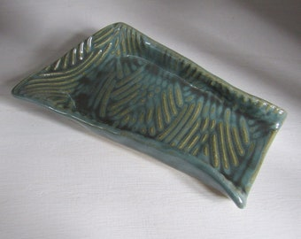 Small Coffee/Tea Spoon Rest- Teal Green Glaze