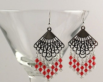 Red Swarovski crystal and silver chandelier earrings.