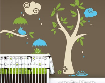 Children Wall Decal Tree Wall Decal Animal - The Tree with Bird and Frog - PLYR050