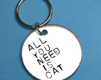 Cat lover gift, Cat person, All you need is Cat keyring, Cat lady, Pet lover, Cat keychain, UK, Gift for Cat owner, Personalised gifts,
