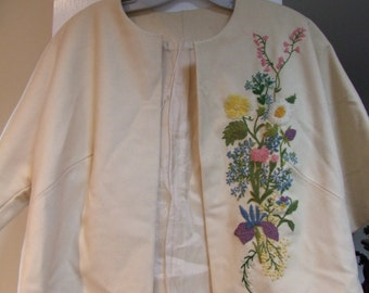 Vintage cream colored Hand Embroidered wool jacket with bat sleeve ala 1940s