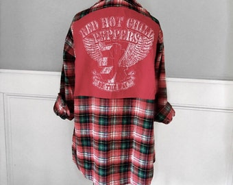 Red Hot Chile Peppers Flannel Tee t shirt on 1970's vintage woven  cotton red plaid flannel shirt men's size xl can be made in diff size