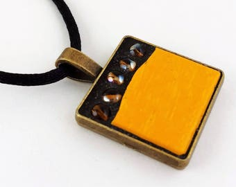 Sunny yellow and topaz necklace, mustard yellow glass tile, sparkling topaz beads, mosaic jewellery, mosaic pendant, gift for her, funky