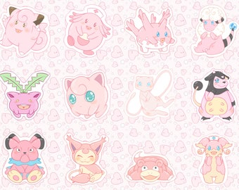 Pink Pokemon Sticker Set