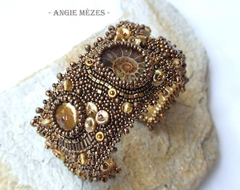 Beaded Cuff Bracelet, Freshwater Pearl Bracelet, Bead Embroidery Bracelet, Bronze Brown Cuff, Ammonite Cuff, Birthday Gift for Mother, SALE