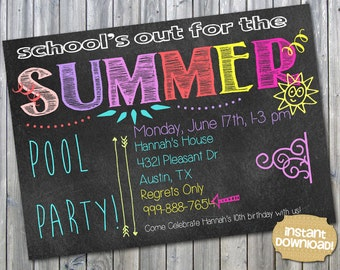INSTANT DOWNLOAD - End of School Party - Pool Party Invitation - School's Out - Summer Birthday Party - Splash Party Invite - Schools Out