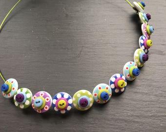 Spotty Sputnik Polkadot Choker Necklace Button Necklace greens