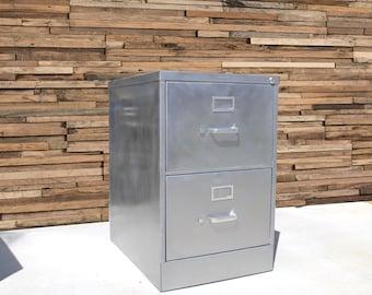 Ordinaire Refinished Bare 2 Drawer Legal Size Metal Filing Cabinet / Brushed /  Industrial Cabinet / Metal Filing Cabinet / Industrial Office Furniture