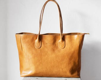 Leather Shopper in Camel /Leather Tote / Shoulder Bag / Brown Leather Bag / Leather Bag  / Leather Handbag / Vegetable Tanned Leather Bag