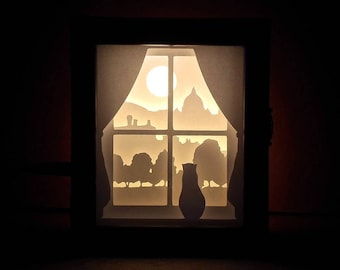 Wooden Box with Paper Cut Silhouette Shadow Box - Cat Looking at the Window