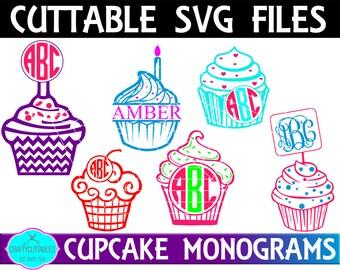 Monogram Cupcake SVG, PNG Files Silhouette Cameo and Cricut Files