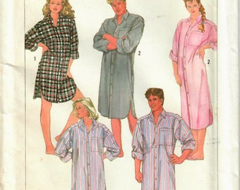 1980s Simplicity 7818 UNCUT Vintage Sewing Pattern Misses, Men, Teen Nightshirt Size Small (32-34)