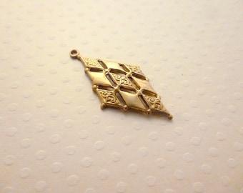 Diamond shaped brass gilded 33 x 16 mm