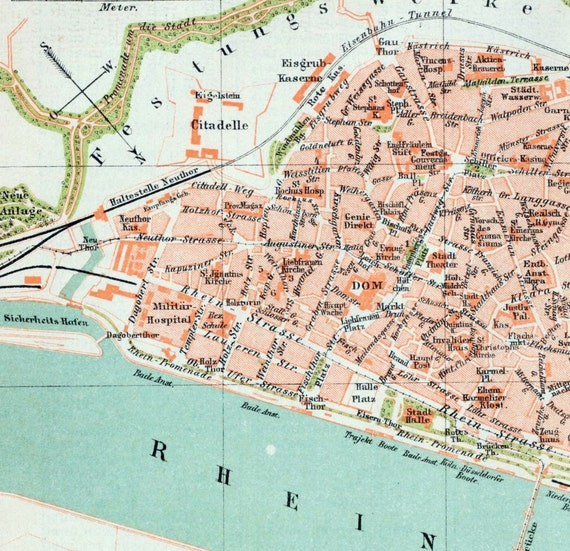 1894 Vintage Map of Mainz Germany Vintage City Map Old