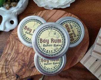 Beard Balm, Bay Rum, argan oil, coconut oil, leave in conditioner, gift for him