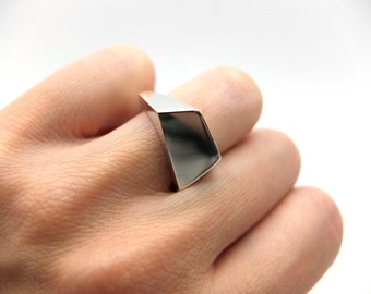 asymmetrical ring, sterling silver statement ring, minimalist facet ring, unique silver ring