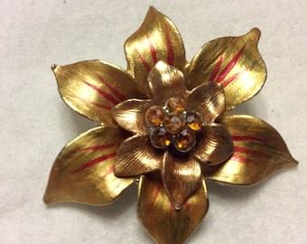 Christmas Poinsettia brooch pin.