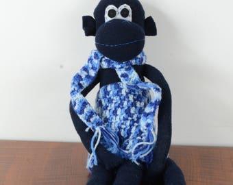 navy sock monkey in blue shorts, Sock monkey doll, stuffed animal, kids toy