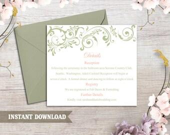 DIY Wedding Details Card Template Download Printable Wedding Details Card Green Detail Card Elegant Information Card Editable Enclosure Card