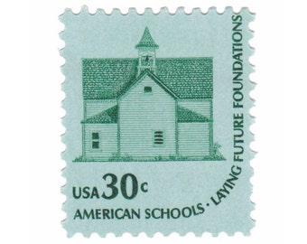 5 Unused Vintage US Postage Stamps - 1979 30c Old School House - Vintage Postage Shop - No. 1606