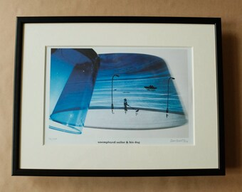 Signed PRINT – unemployed sailor & his dog