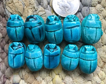10 13-16x18-22mm Egyptian Faience Scarab Beads Glazed Turquoise Blue