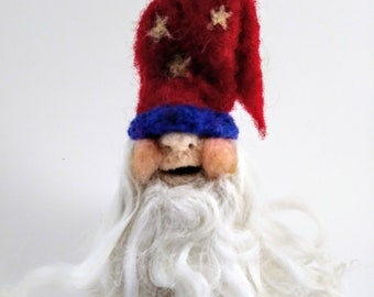 Needle felted gnome,felted gnome,americana gnome,red white and blue gnome,small felted wizard gnome, wizard,gnome,cute small gnome,red gnome