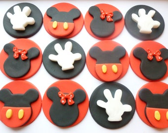 Mickey and Minnie Mouse fondant cupcake toppers- Handmade to order Uk