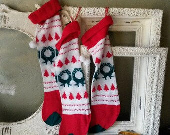 Vintage Christmas stocking knit retro Cottage Chic Christmas decor stockings red and white home decor