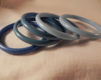 Vintage Bangle  Bracelets Five Lucite  Shades of Blue