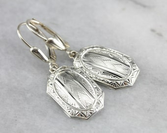 Art Deco Cufflink Earrings, Gold Drop Earrings, White Gold Earrings, Upcycled Jewelry QH1HYYR5-D