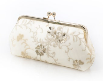 Ivory Bridal Clutch with Embroidery and Gold / Beige Sequins