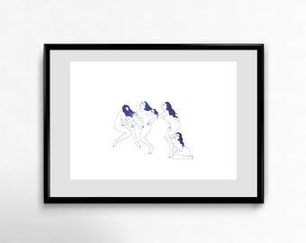 War - riso print (blue)