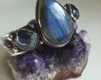 Blue Labradorite Sterling Cuff