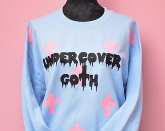 pastel goth cute oversize baggy sweater - creepy cute kawaii fairy kei winter jumper - pastel halloween gothic cross aesthetic soft grunge