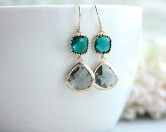 Black Diamond Framed Glass Drop and Emerald Green Drop French Dangle Earrings.  Modern Everyday. Wedding Bridal Bridesmaids Earrings