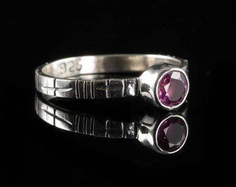 Size 6 Pink TOURMALINE Ring - Sterling Silver & Natural Tourmaline Crystal Jewelry, Faceted Gemstone and Silver Ring Tourmaline Jewelry J961