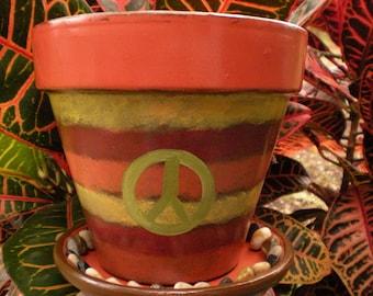 Painted Flower Pot - Peace Sign - Rustic Planter - Boho Decor