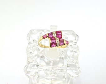14k Gold, Ruby And Diamond Ring. Size 5.75