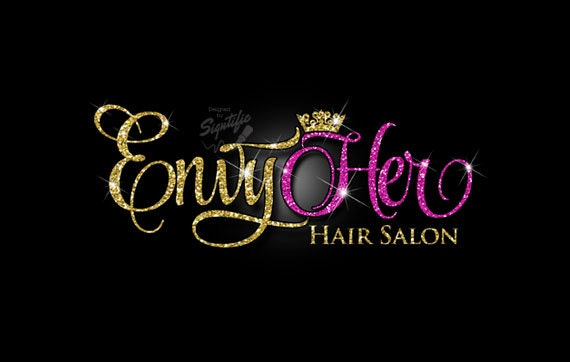 Glitter bling hair salon logo custom hair salon glitter gold for Salon designer online