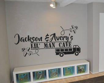 Lil' Man Cave Vinyl Wall Decals Personalized Custom Name Decals Boys Room Decals Play Room Decals